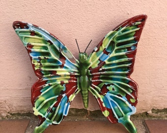 French BUTTERFLY WALL DECORATIVE provence moustier handmade 10