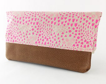 Gift For Her/Canvas Leather Bag/Fuschia Folded Clutch/Leather/Canvas/Small Bag/Zipper Pouch/Cotton + Steel bag