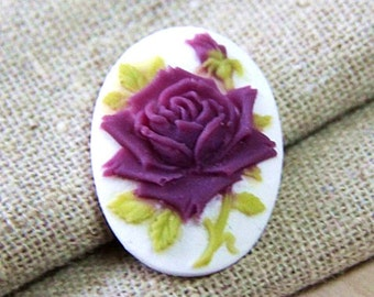 6  pcs of resin rose cameo --18x25mm-0161-7-maroon with green leave on white