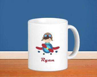 Pilot Kids Personalized Poly Mug - Airplane Pilot with Name, Child Personalized Poly Mug Gift
