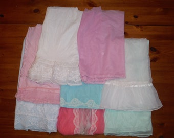 Vintage Ladies Lingerie Nighties Scraps - Vintage Blue Pink White Green Nylon Lace Nightgown Fabric Pieces - Vintage Lace Nylon Scraps Lot