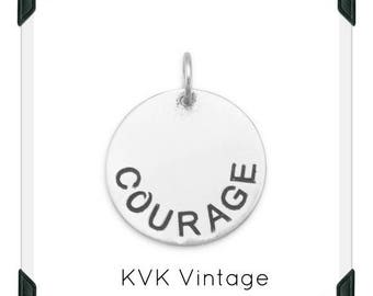 "Oxidized ""COURAGE"" Hand-Stamped Sterling Silver Pendant/Necklace"