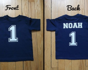 Personalized kids birthday shirt, boys name and number shirt, front and back print