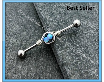 14 gauge Double Opal Industrial barbell, stainless steel .....Available Barbell sizes 32mm, 35mm, 38mm