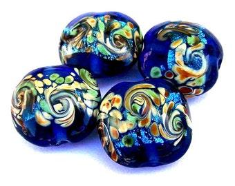4 cobalt blue lampwork glass beads, ocean waves, royal blue lentil shape with swirls