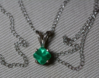 """Emerald Necklace, 14K White Gold Colombian Emerald Pendant 0.44 Carat, Certified Emerald, Real Emerald Princess Cut Jewelry, 18"""" Gold Chain"""