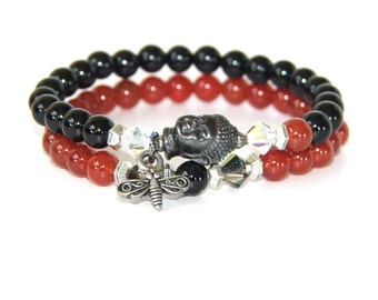 Buddha Bracelet Set, Gemstone Beads & Swarovski® Crystals  -  Stretch Yoga Jewelry