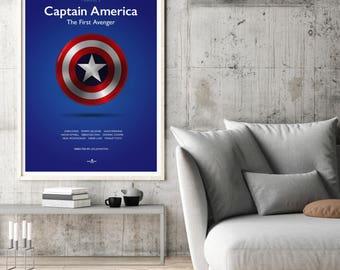 Captain America Film Poster Art Print, Captain America Film Poster, Marvel, Comic Film, Minimalist Movie Poster, Wall Art
