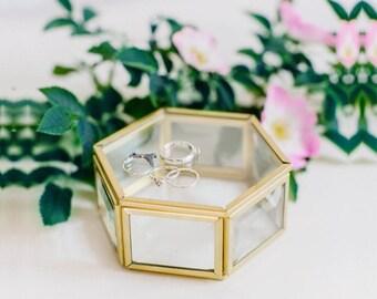 Glass ring box, Wedding ring box, Geometric ring box, Ring bearer pillow, Ring bearer box, Hexagon Ring Box (JB15)