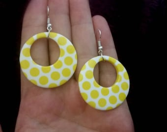 Round Dangle Statement Earrings With Yello Dots
