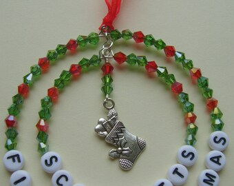 Personalised baby's first christmas beaded hanging decoration, baby's first christmas tree decoration