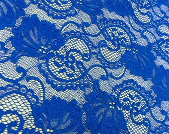 "Royal Blue Stretch Lace Fabric Floral Embroidery Poly Spandex 58"" Wide BTY Wedding Apparel Victoria"
