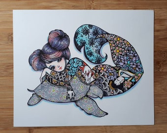 Inked Out Mermaid 2 (Turtle) - 9x11 Inch Mermaid (mermay) and Tattoo themed Original Ink and Marker Illustration