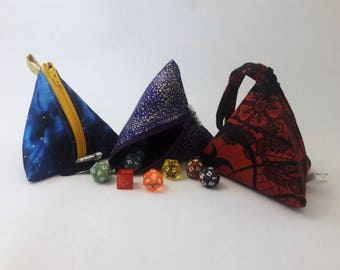 Made to Order - Zippered D4 Pyramid Polygon Dice Jewelry Bag Gift