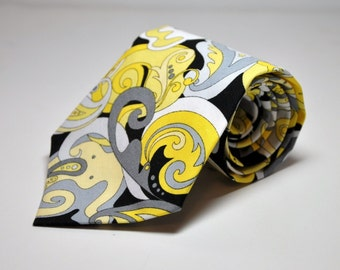 Men's Necktie in Yellow Gray and Black Paisley