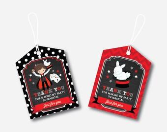 Instant Download, Magician Favor Tags, Magician Thank You Tags, Magician Gift Tags, Magician Birthday Tags, Magic Tags, Magic Party(CKB.151)