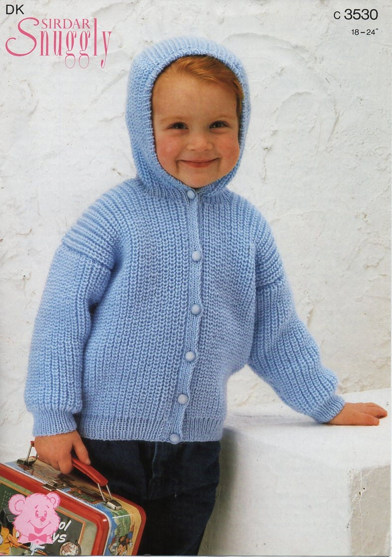 baby childs hooded jacket knitting pattern PDF fishermans rib ...
