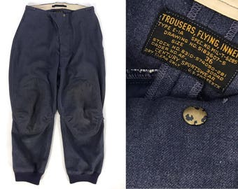 Vintage 1940s Flying Trousers // WWII US Air Force Pilot Uniform // WW2 Wool Flight Pants // 40s Wartime Americana Fighter Pilot