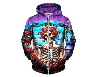 Best Grateful Dead Hippie Clothes - Greatful Dead Clothing - Zip Up Hoodie - Trippy Hippie Clothes - Festival Concert Hoody