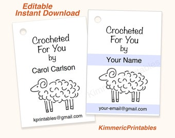 CROCHET TAGS~ Sheep ~ Editable ~ Printable ~ Hang Tags ~ Instant Download ~ Crocheted ~ DIY ~ Gift Tags ~ Digital ~ Price Tags ~ For You
