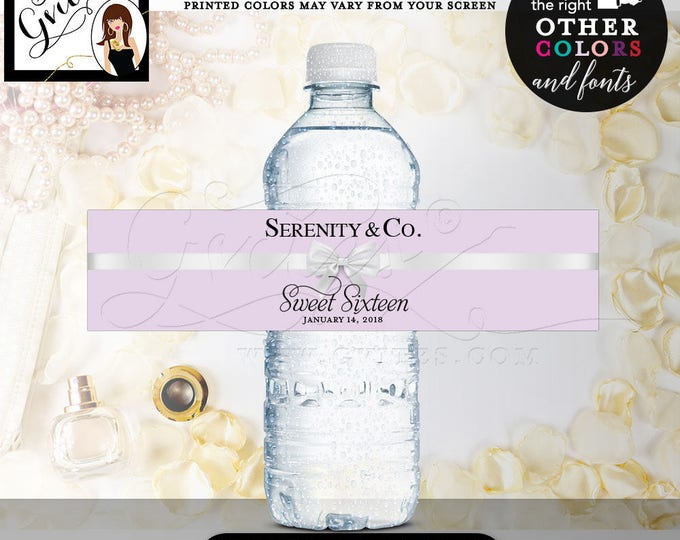"""Purple Water Bottle Label Lilac Lavender and white, sweet 16 printable, 8x2""""/5 Per Sheet"""