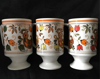 60s Orange Yellow stacking cups set of 3 ceramic Floral Stacking Mugs made in Japan Tulipes and paisley pattern
