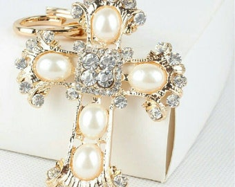 Cross keychain, bling faux pearls , rhinestones crystal, keyring purse charm Handbag charm jewelry,New