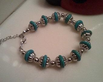 Turquoise Beaded Bracelet - Statement Beaded Bracelet - Turquoise and Silver Beads Bracelet - Handmade Jewelry - Chain Bracelet  15.00