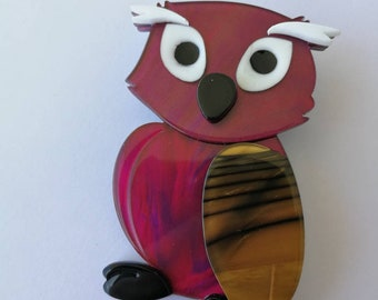 Beautiful owl pin brooch made from acetate