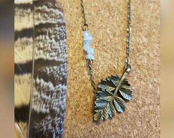 Boho Aquamarine Leaf Necklace - Rustic Antique Bronze Totem Charm