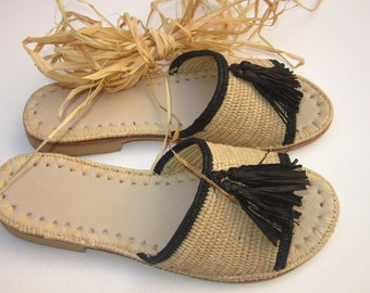 Moroccan handmade shoes made of natural raffia,  and soles real leather