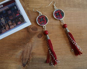silver plated earrings inspired Hmong 12 cm