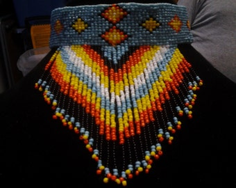 native American style beaded choker with fringe