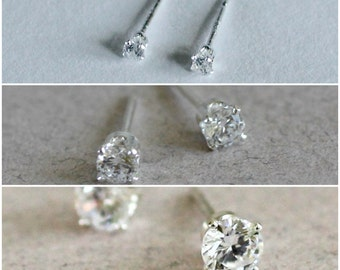 Cubic Zirconia Stud Earrings, Cubic Zirconia Studs, CZ Stud Earring Set,Stud Earrings Set- CZ Studs, April Birthstone Studs, Gifts Under 50
