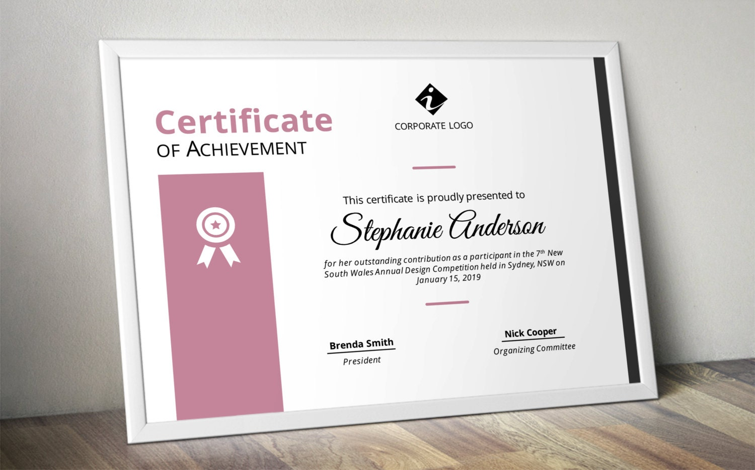 Modern colourful corporate business certificate template for zoom xflitez Image collections