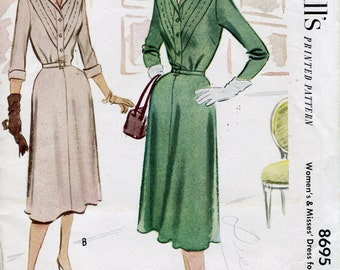 1950s  Dress Pattern Vintage Sewing Pattern McCalls 4260 Flared Skirt Button Front Size 18 1/2 uncut