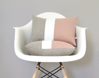 Blush Colorblock Cushion Cover with Cream Stripe (Set of 2) by JillianReneDecor, Modern Home Decor, Pastel Decorative Pillows, Natural Linen