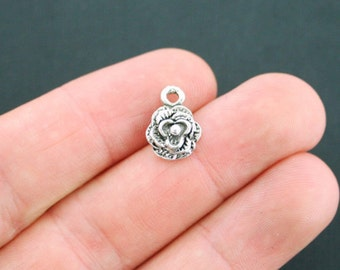 10 Flower Charms Antique  Silver Tone Raised Relief - SC2148
