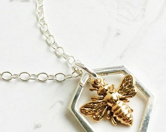Sterling Silver & Bronze Bee Necklace