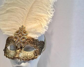 Lace Venetian Mask- Gold Mask- Lase Mask- Mardi Gras Mask- Ivory Feather Mask -Gold Masquerade Mask- Mask NYC- Mardi Gras- Masquerade Ball