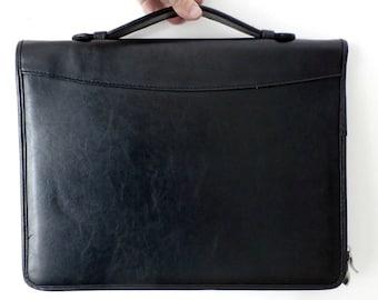 Faux Leather Black Portfolio Case, Vintage Vegan Leather Envelope, Unisex Laptop Case, Laptop Carrier, Writing Pad, Case, Divided Portfolio