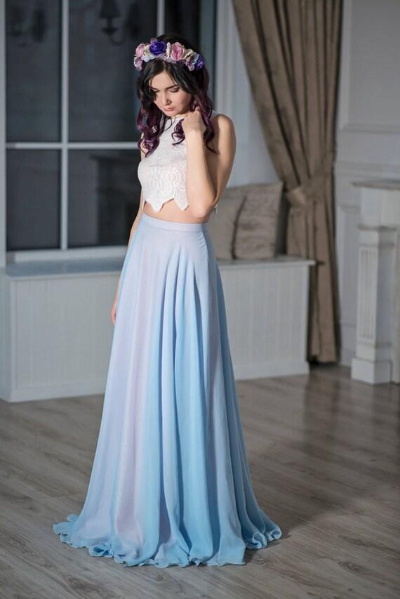 READY TO SHIP: blue and blush bridal skirt / serenity color bridal skirt / wedding skirt / chiffon bridal skirt / wedding skirt /  us size 0