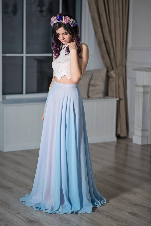 READY TO SHIP: blue and blush bridal skirt / serenity color bridal ...