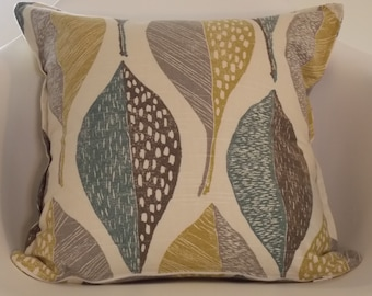 "Robert Allen at Home Woodblock Leaf Rain 18"" x 18"" pillow cover yellow grey blue ecru  READY TO SHIP"