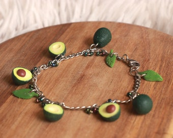 Avocado charm Bracelet - miniature food jewelry - fruit jewelry, christmas gift, mothers day gift, birthday gift