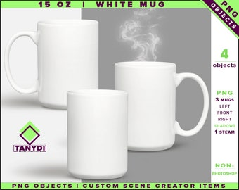 Coffee Mug 15oz | Non-Photoshop | PNG objects | Left Right Front White Mug | Shadows | Custom Scene Creator Items