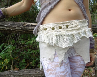 Bohemian Beige and Cream short skirt cotton crochet lace material.