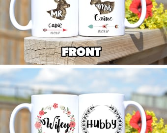 Hubby Wifey mugs,Mr Mrs mugs,mr mrs mug set,bride and groom mug set,couple mugs,wedding mug,gift for the bride and groom,gift for wife hubby
