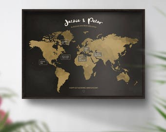 Anniversary gift, World map, Travel, Places we've been map, 1st anniversary gift, Travel map, Wall art, Engagement gift Wedding gift Couples