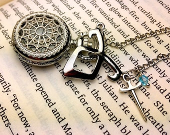 Shadowhunter Inspired Pocket Watch Necklace - Rune Necklace - Shadowhunter Inspired Jewelry - Mortal Instruments Inspired - Book Jewelry